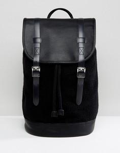 Черный рюкзак из искусственного меха с отделкой под кожу ASOS - Черный