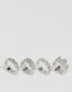 4 кольца с филигранной отделкой ASOS - Серебряный