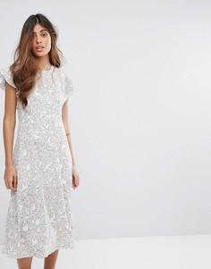 Платье миди с оборками Goldie - Мульти