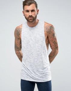 Фактурная футболка без рукавов со спиной-борцовкой ASOS - Синий