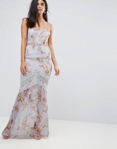 Платье макси на бретелях в цветочек с кружевом и бахромой Hope & Ivy - Серый