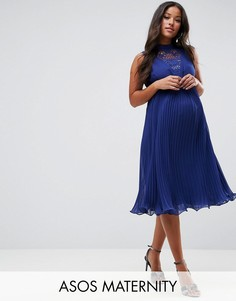 Платье без рукавов с кружевной вставкой ASOS Maternity - Темно-синий