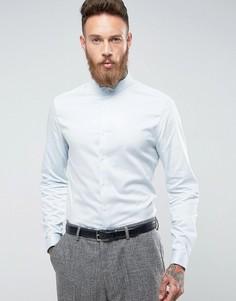 Синяя атласная рубашка скинни с двойными манжетами и воротником ASOS Wedding - Синий