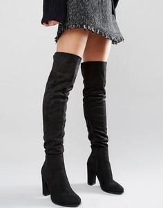 Черные ботфорты на каблуке Daisy Street - Черный