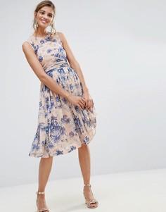 Платье миди с присборенной вставкой и цветочным принтом ASOS PREMIUM - Мульти
