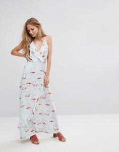 Платье макси с принтом фламинго Liquorish - Белый