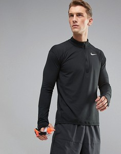 Черный свитшот с молнией до середины груди Nike Running Dri-FIT Element 857820-010 - Черный