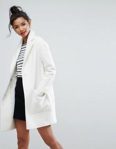 Фактурное пальто ASOS - Белый