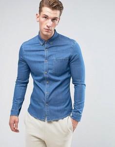 Джинсовая рубашка скинни ASOS - Синий