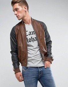 Кожаная куртка Diesel L-Truly - Коричневый