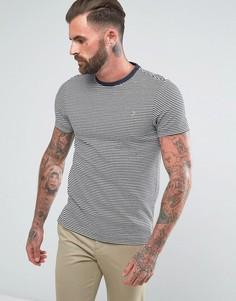 Темно-синяя узкая футболка в тонкую полоску Farah Vyner - Темно-синий