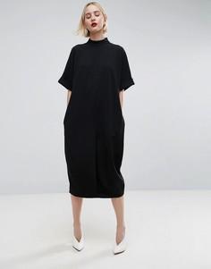 Платье миди овального силуэта ASOS WHITE - Черный