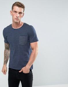 Фактурная футболка в полоску с карманом Casual Friday - Темно-синий