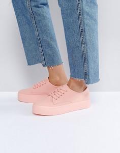 Розовые парусиновые кроссовки на платформе Blink - Розовый