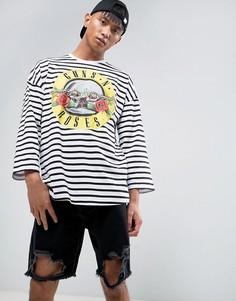 Oversize-футболка в полоску с рукавами 3/4 и принтом Guns And Roses ASOS - Белый
