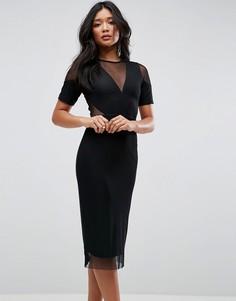 Платье-футляр миди с сетчатыми вставками ASOS - Черный