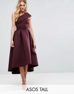Приталенное платье миди на одно плечо с асимметричным подолом ASOS TALL - Фиолетовый