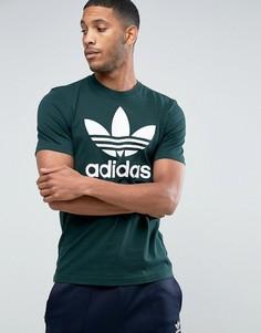Зеленая футболка с логотипом-трилистником adidas Originals CD9304 - Зеленый