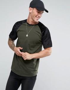 Длинная футболка цвета хаки с велюровыми рукавами реглан ASOS - Зеленый