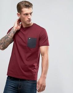 Бордовая футболка с контрастным карманом Lyle & Scott - Красный