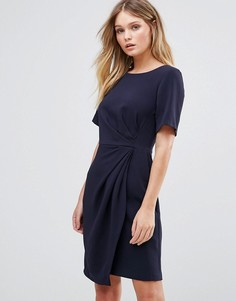 Платье с короткими рукавами, запахом на юбке и складками Closet - Темно-синий