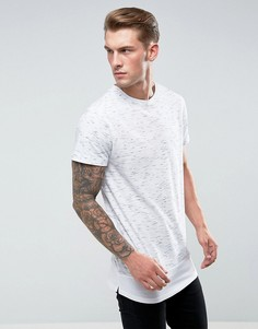 Меланжевая удлиненная футболка с ярусным краем Bellfield - Серый