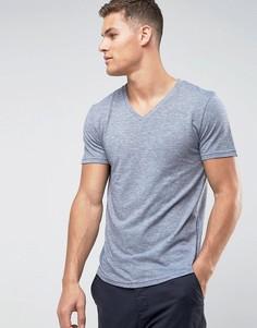 Хлопоквая меланжевая футболка с V-образныи вырезом Tom Tailor - Темно-синий