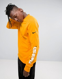 Желтый свитшот с принтом на рукавах Nike SB Everett 860112-804 - Желтый
