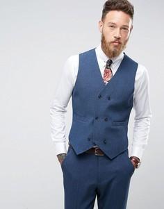 Облегающий жилет с принтом на подкладке ASOS Wedding - Темно-синий