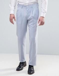 Светло-голубые узкие брюки из фактурной ткани ASOS WEDDING - Синий