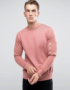 Джемпер в стиле милитари с круглым вырезом Brave Soul - Розовый
