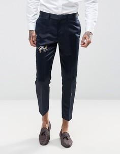 Темно-синие укороченные брюки из атласной ткани с вышивкой ASOS - Темно-синий
