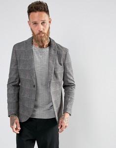 Блейзер с добавлением шерсти в клетку Selected Homme - Серый