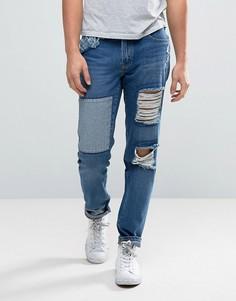 Зауженные джинсы с рваной отделкой и заплатками Waven - Синий