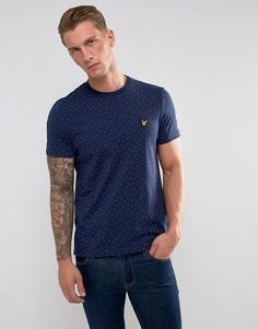 Темно-синяя футболка в мелкий горошек Lyle & Scott - Темно-синий