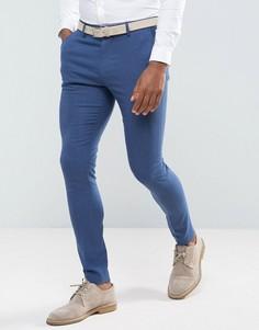 Ярко-синие фактурные супероблегающие брюки ASOS Wedding - Синий