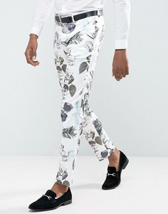 Строгие зауженные брюки с цветочным принтом ASOS Wedding - Белый