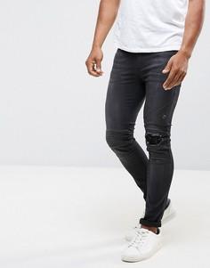 Зауженные эластичные джинсы в байкерском стиле с рваной отделкой на коленях Religion - Черный