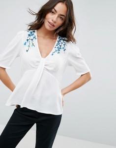 Блузка с вышивкой и узлом ASOS - Белый