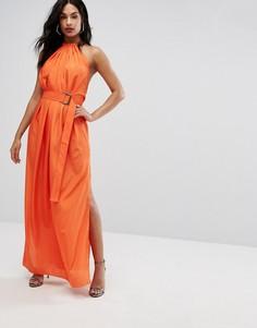 Платье макси с поясом и сборками AQ AQ - Оранжевый
