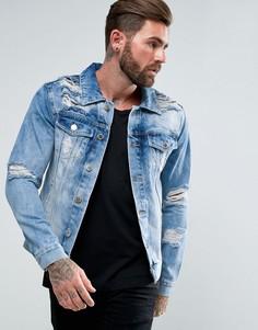 Синяя джинсовая куртка с рваной отделкой Good For Nothing - Синий