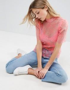 Блузка из органзы с вышивкой ASOS Premium - Розовый