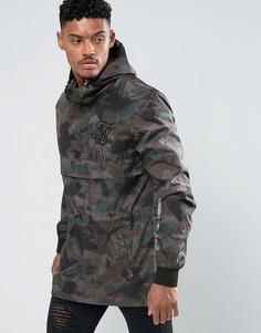 Камуфляжная куртка-ветровка без застежки SikSilk - Зеленый