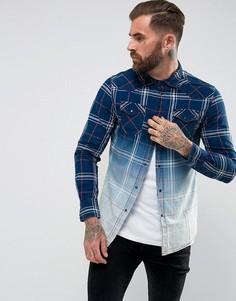 Рубашка в клетку с длинными рукавами и эффектом омбре Diesel S-Courty - Синий