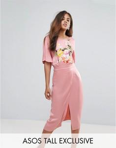 Платье миди в стиле кимоно с вышивкой эксклюзивно для ASOS TALL - Мульти