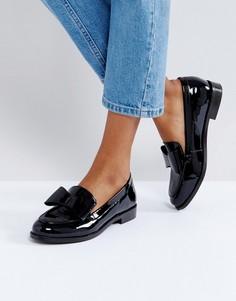 Туфли на плоской подошве с бантом Office Present - Черный