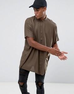 Оверсайз-рубашка цвета хаки из вискозы с заниженной линий плеч ASOS - Зеленый