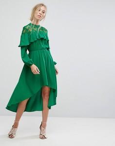Платье миди с кружевной вставкой и асимметричным подолом Pearl - Зеленый