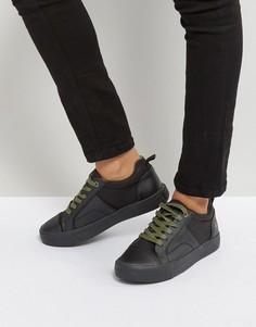 Черные кроссовки с отделкой из кожи и денима G-Star - Черный