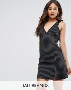 Платье мини в тонкую полоску с завязками на плечах Missguided Tall - Черный